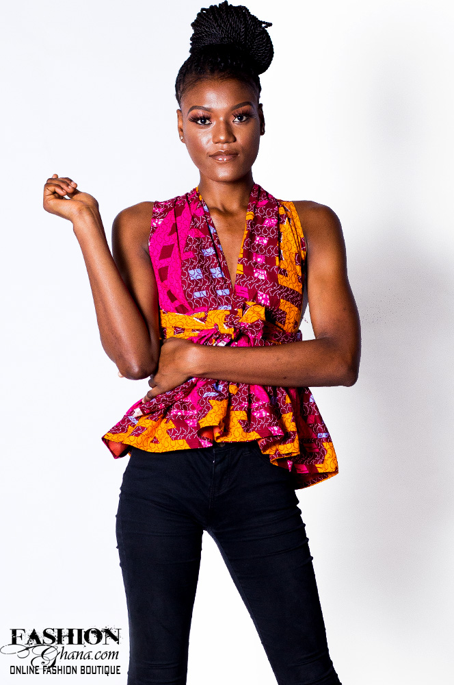 African Print Sleeveless Peplum Top