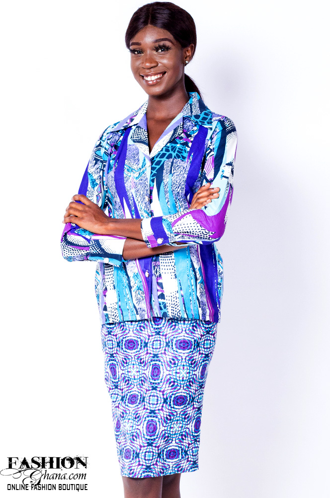 African Print Blazer With Pencil Skirt