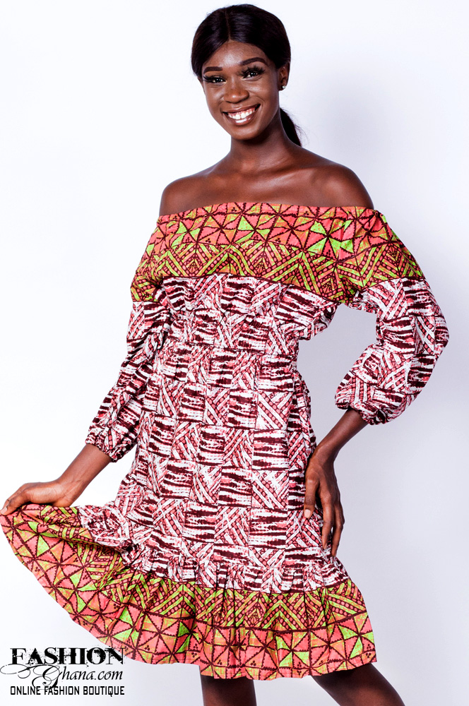 Off-Shoulder African Print A-Line Dress