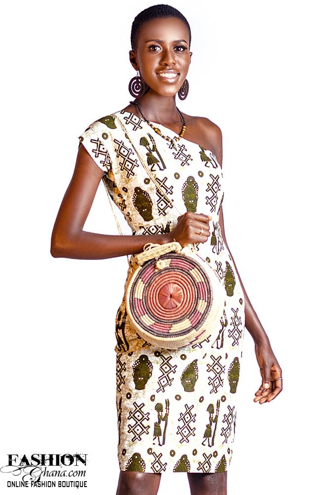 African Print One Off-Shoulder Pencil Dress