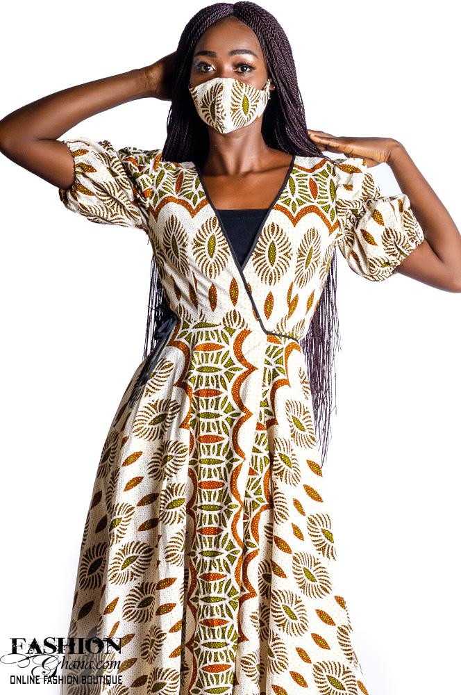 African Print Midi Wrap Dress