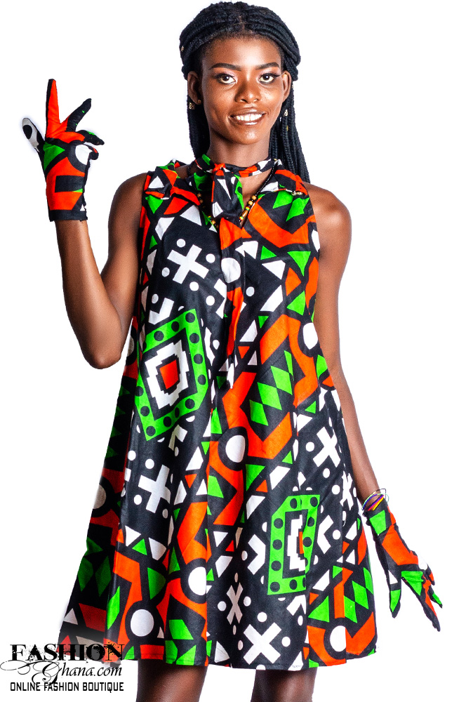 African Print Bow Collar Shift Dress