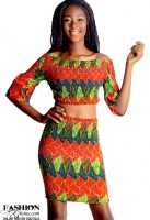 African Print Stretchy Off-Shoulder Top With Knee Skirt