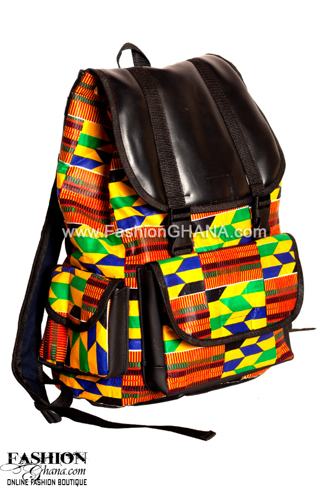 Leather Flap African Print Back Pack