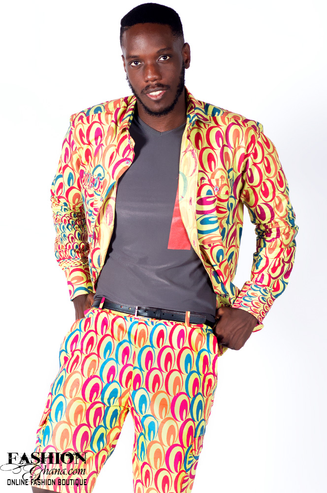 African Print Shirt Jacket & Shorts