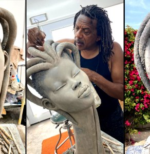 PICS: Meet The Amazing Sculpturer Chukesart Whose Work Is Dominated By African Beauty Features & Medusa Like Coiffure