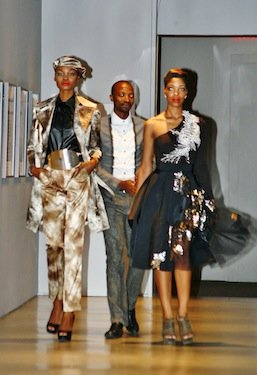 """South African fashion designer Thula Sindi displays his mineral-inspired designs at the National Museum of African Art's """"Earth Matters, Fashion Matters"""" showcase on Feb. 23."""