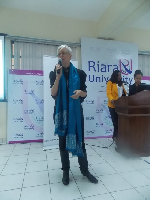 Ann McCreath facilitating the opening sessions of the Business Of Fashion workshops Riara University