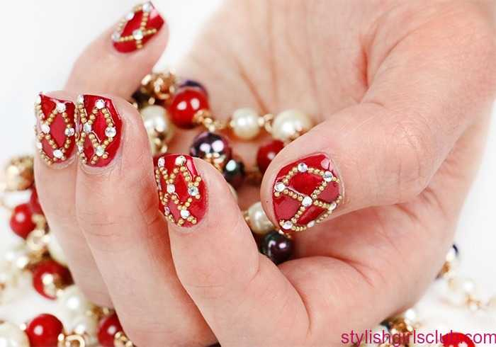 Red And Golden Nails For Wedding 2017