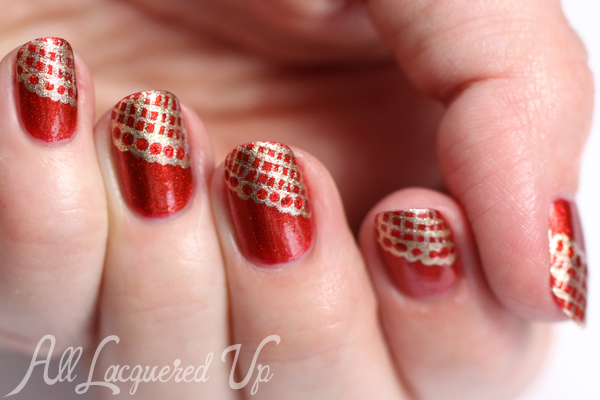 Red Lace Nails For Wedding