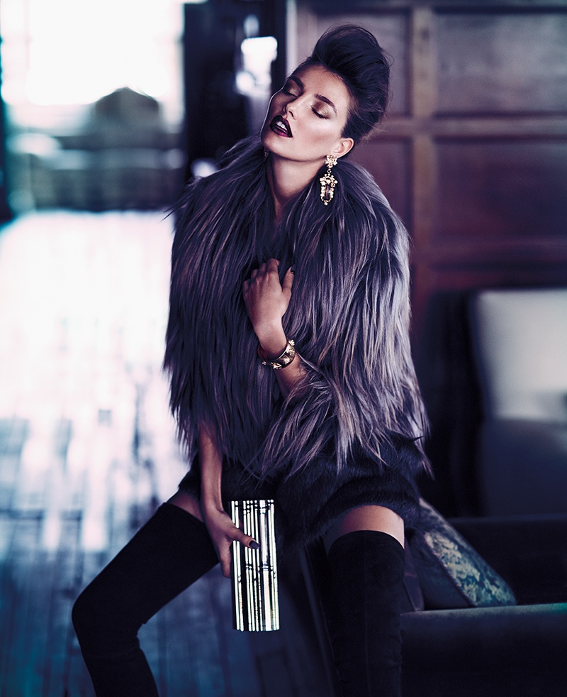 Alina Baikova Is Fashionable In Fur For Fashion Shoot By