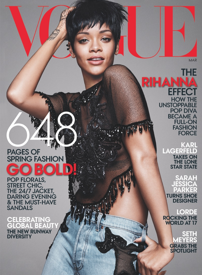 rihanna vogue photo shoot1 Rihanna Lands Third Vogue Cover for Magazines March Issue