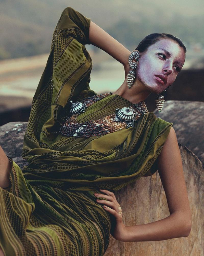 kate kung foto shoot, Kate Kung modeller Sari stil för hur man spendera den av Andrew Yee