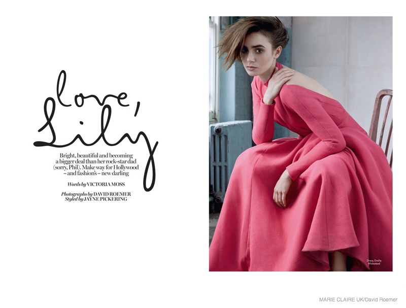 lily collins marie claire uk 2014 shoot02 Actress Lily Collins Poses in Marie Claire UK Story by David Roemer