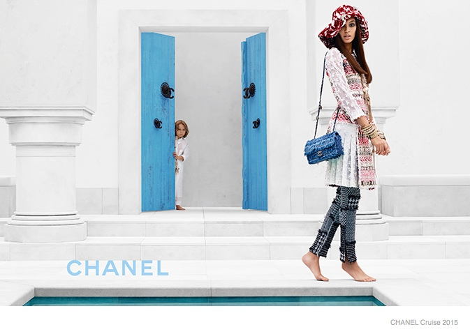 chanel cruise 2015 joan smalls03 Joan Smalls Lounges for Chanel Cruise 2015 Campaign by Karl Lagerfeld