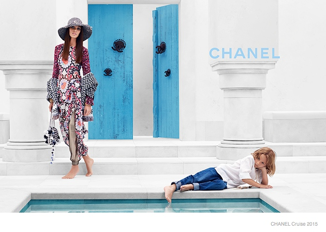 chanel cruise 2015 joan smalls04 Joan Smalls Lounges for Chanel Cruise 2015 Campaign by Karl Lagerfeld