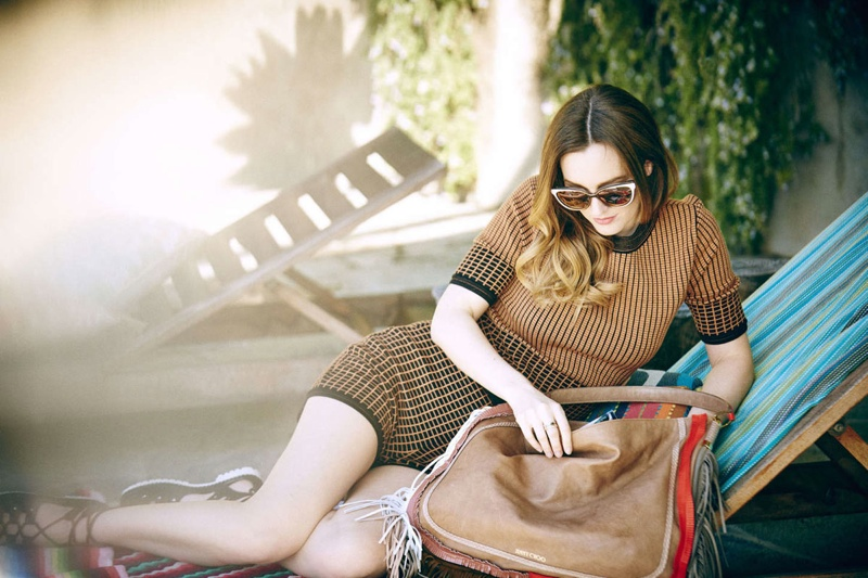 Leighton Meester wears Wylde, Zoe L and Cindy sunglasses from Jimmy Choo