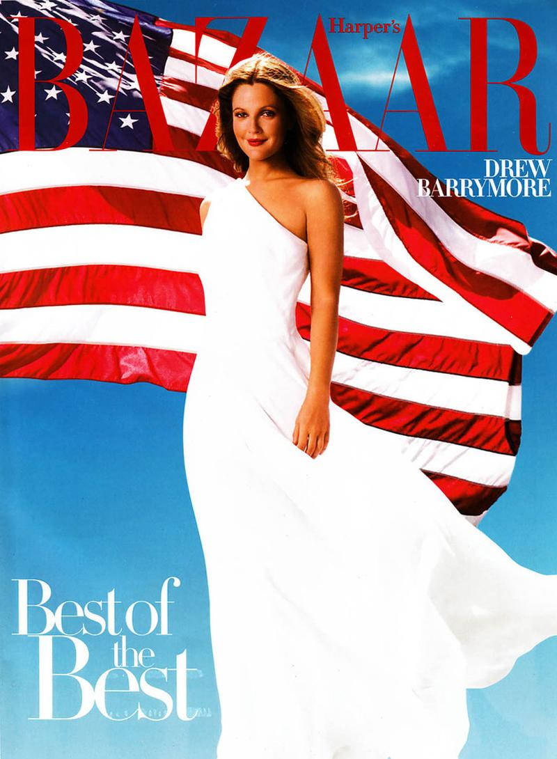 Drew Barrymore stars on Harper's Bazaar July 2008 cover
