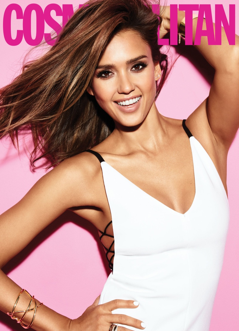 Jessica Alba is all smiles in a white dress