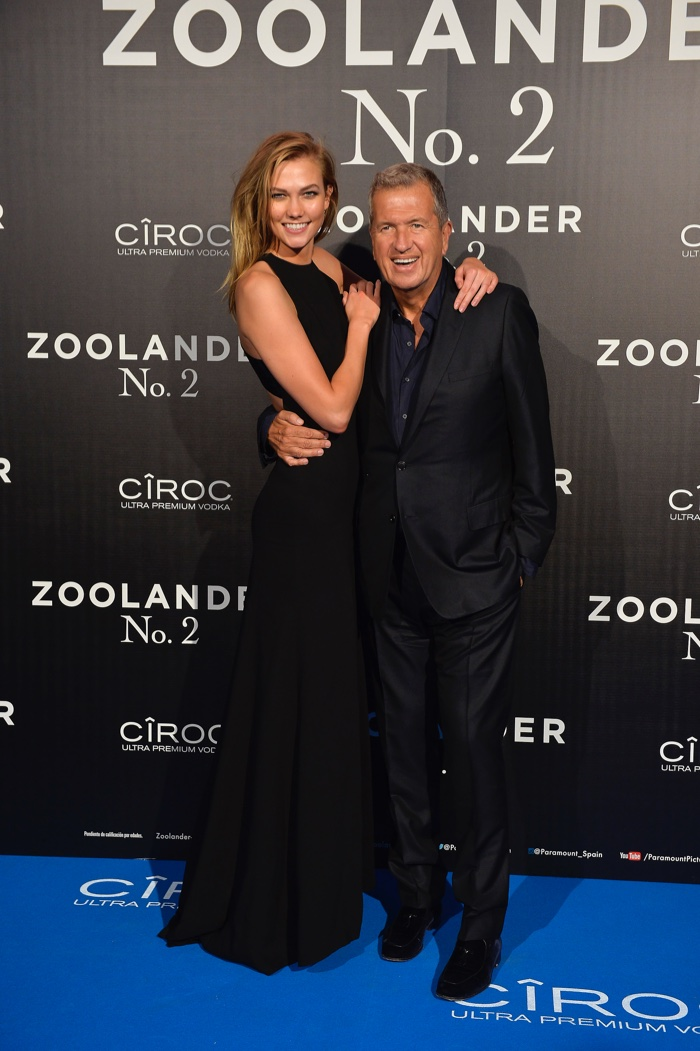 Karlie Kloss and Mario Testino the Madrid, Spain, premiere of Zoolander 2. Photo: Carlos Alvarez/Getty Images for Paramount