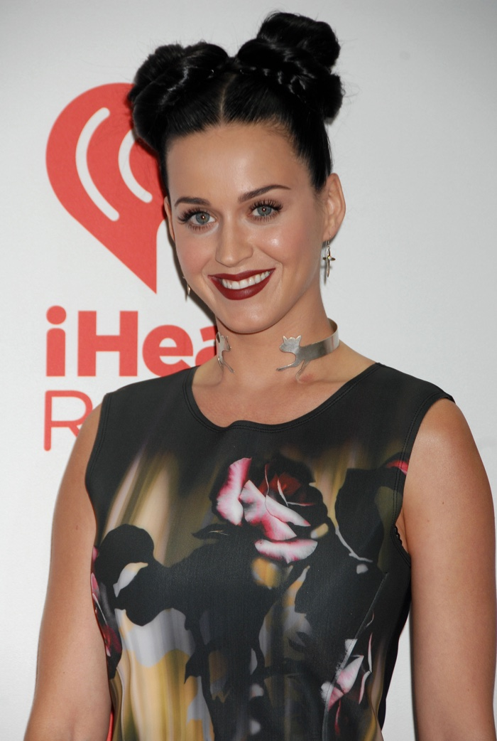 Katy Perry channeled her inner 90s raver with two buns on her head accented with braids at a 2013 iHeartRadio event. Photo: Ga Fullner / Shutterstock.com