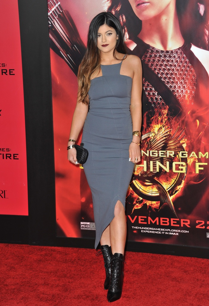 Fast forward to 2013, and Kylie Jenner showed off amore mature look at The Hunger Games: Catching Fire premiere wearing a grey Kimberly Ovitz Chalu dress. Photo: Featureflash / Shutterstock.com