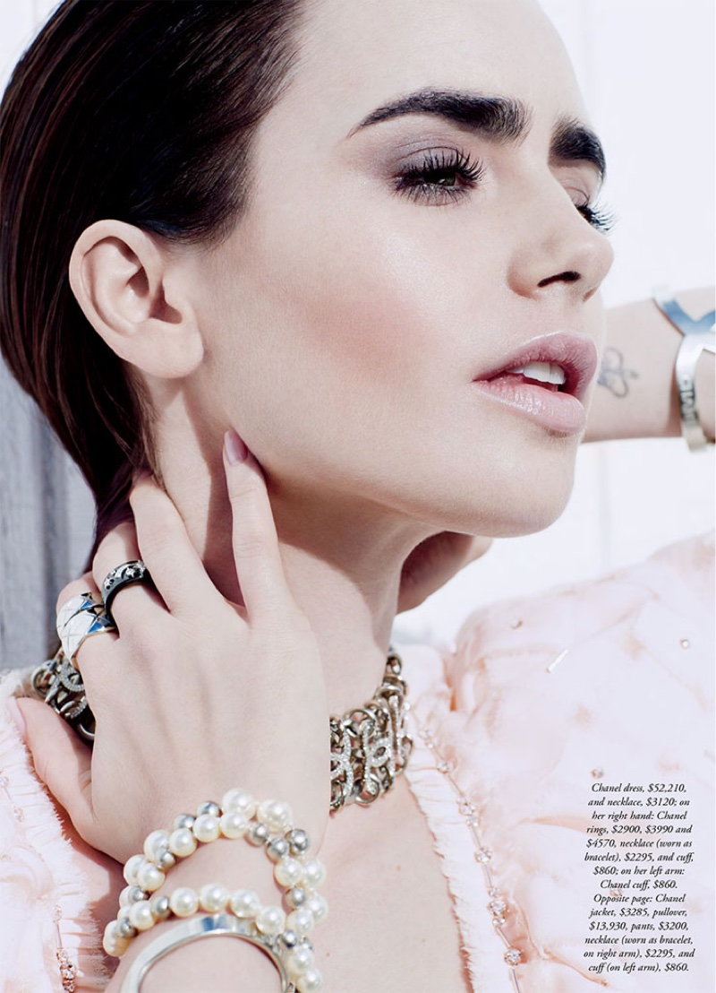 Lily Collins look pretty in pink wearing a Chanel dress and jewelry