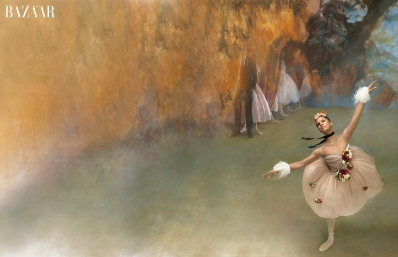 Misty recreates Edgar Degas painting while posing in a Valentino dress