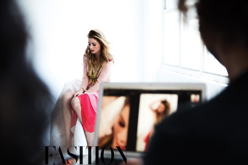 Olivia Palermo behind the scenes on FASHION Magazine cover shoot