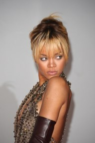 Rihanna-Blonde-Hair-Updo-Bangs