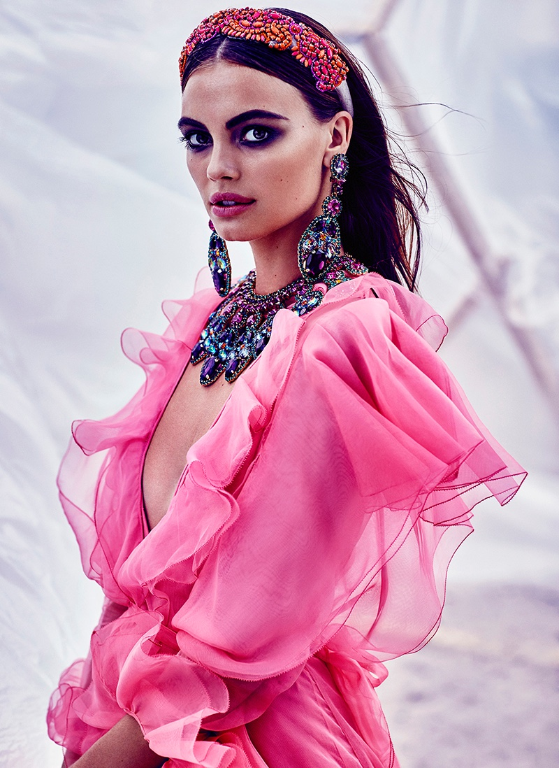 Looking ethereal in a pink Gucci dress with ruffles, Kristina stars in FASHION editorial