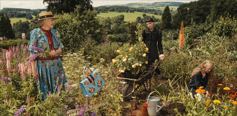 Gucci Goes Totally British with Cruise, Gucci, British with Cruise, Cruise 2017 Ads, Cruise 2017, Vanessa Redgrave2017 campaign, Westminister Abbey, Glen Luchford, Hannelore Knuts, Ellen de Weer, Sophia Friesen, Nika Cole, Dwight Hoogendijk, Nick Fortna, Conner Rowson, Victor Kusma, Chatsworth House