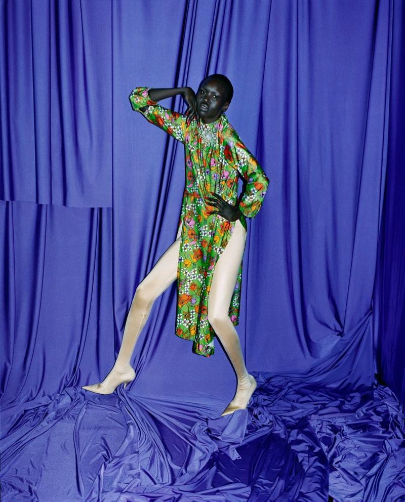 Alek Wek strikes a pose in Balenciaga's spring-summer 2017 campaign