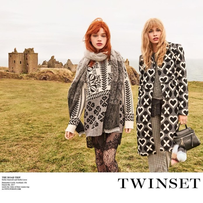 Stella Lucia and Stella Maxwell wear luxe knits in Twinset's fall-winter 2017 campaign