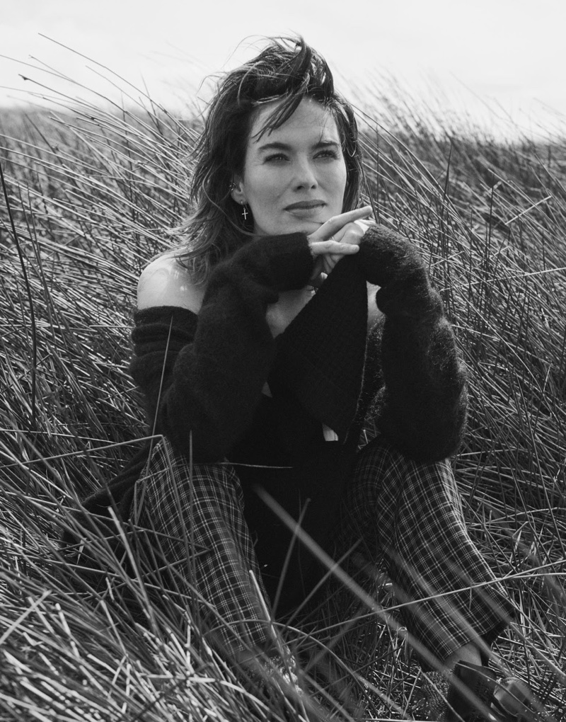 Photographed in black and white, Lena Headey wears Acne Studios cardigan, ATM Anthony Thomas Melillo tank and Miu Miu pants