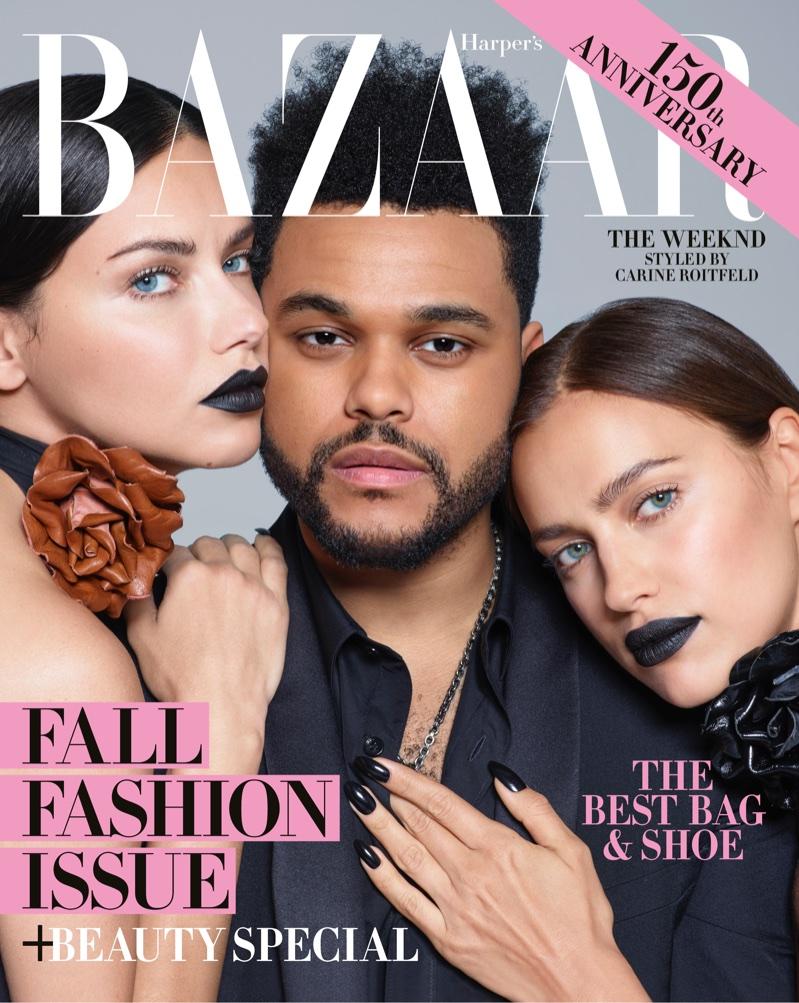 Adriana Lima, The Weeknd and Irina Shayk on Harper's Bazaar September 2017 Cover