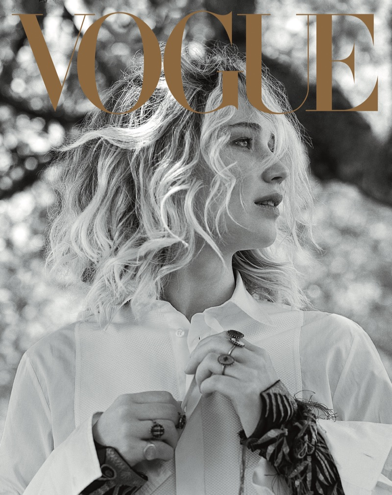 Actress Jennifer Lawrence wears Dior shirt and jewelry. Photo: Vogue/Bruce Weber