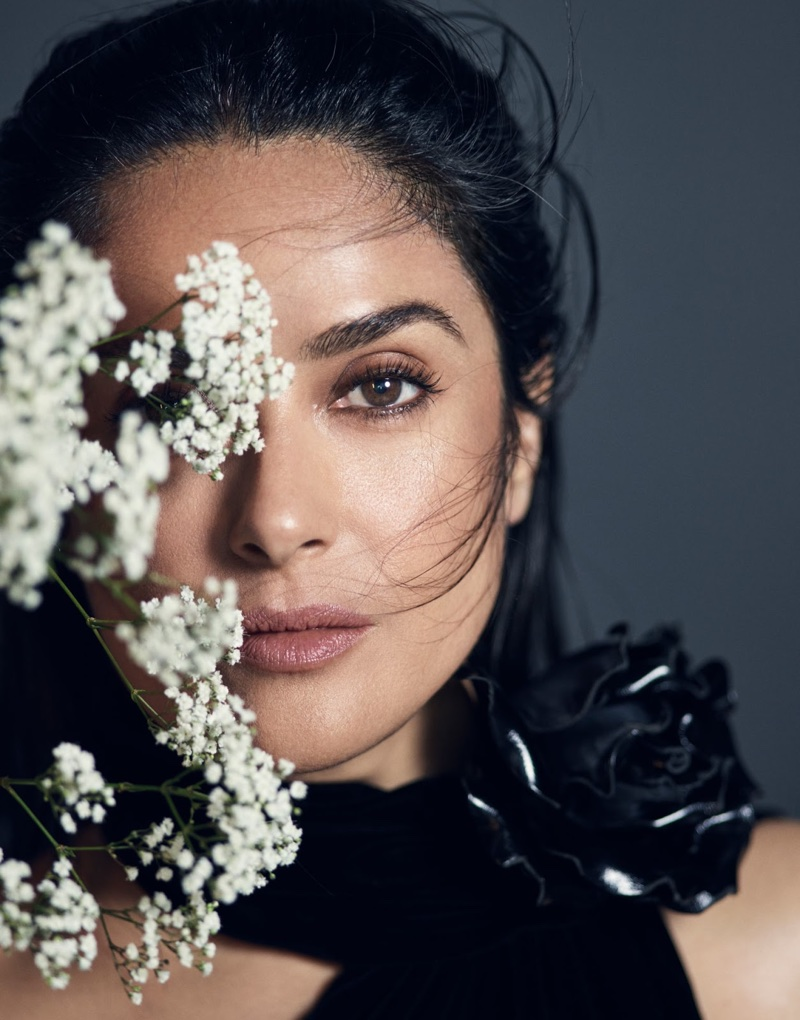Salma Hayek gets her closeup in Saint Laurent dress