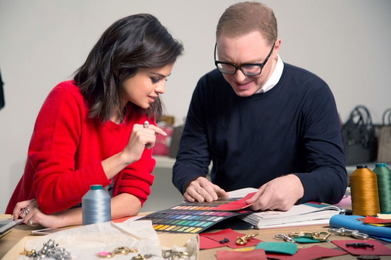 Singer Selena Gomez with Coach creative director Stuart Vevers