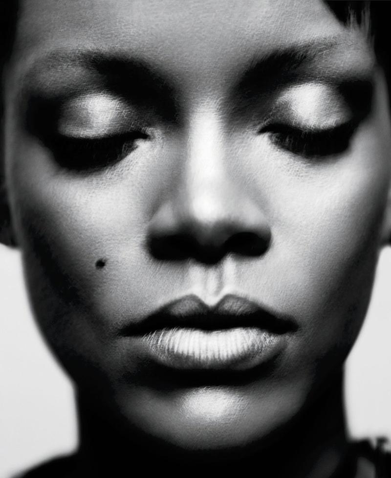 Getting her closeup, Rihanna wears Fenty Beauty makeup