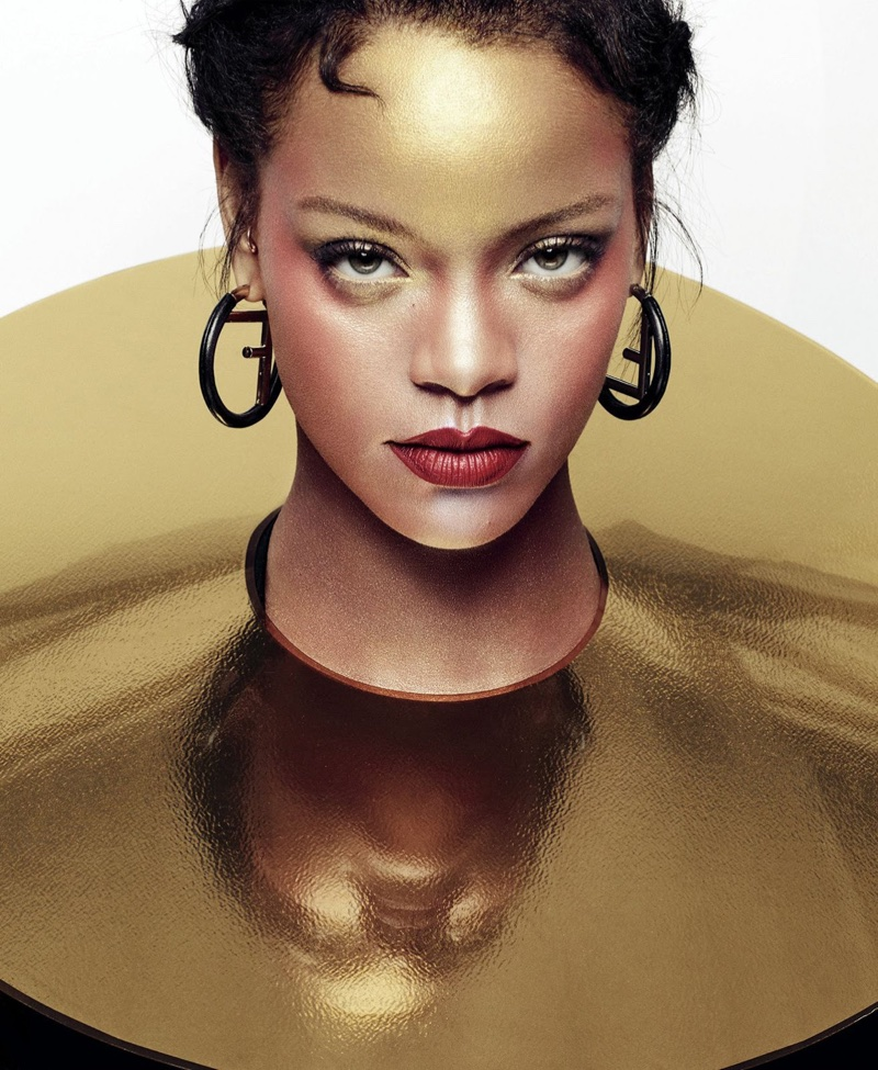 Singer Rihanna poses in Fendi earrings and Gijs Bakker neck plate