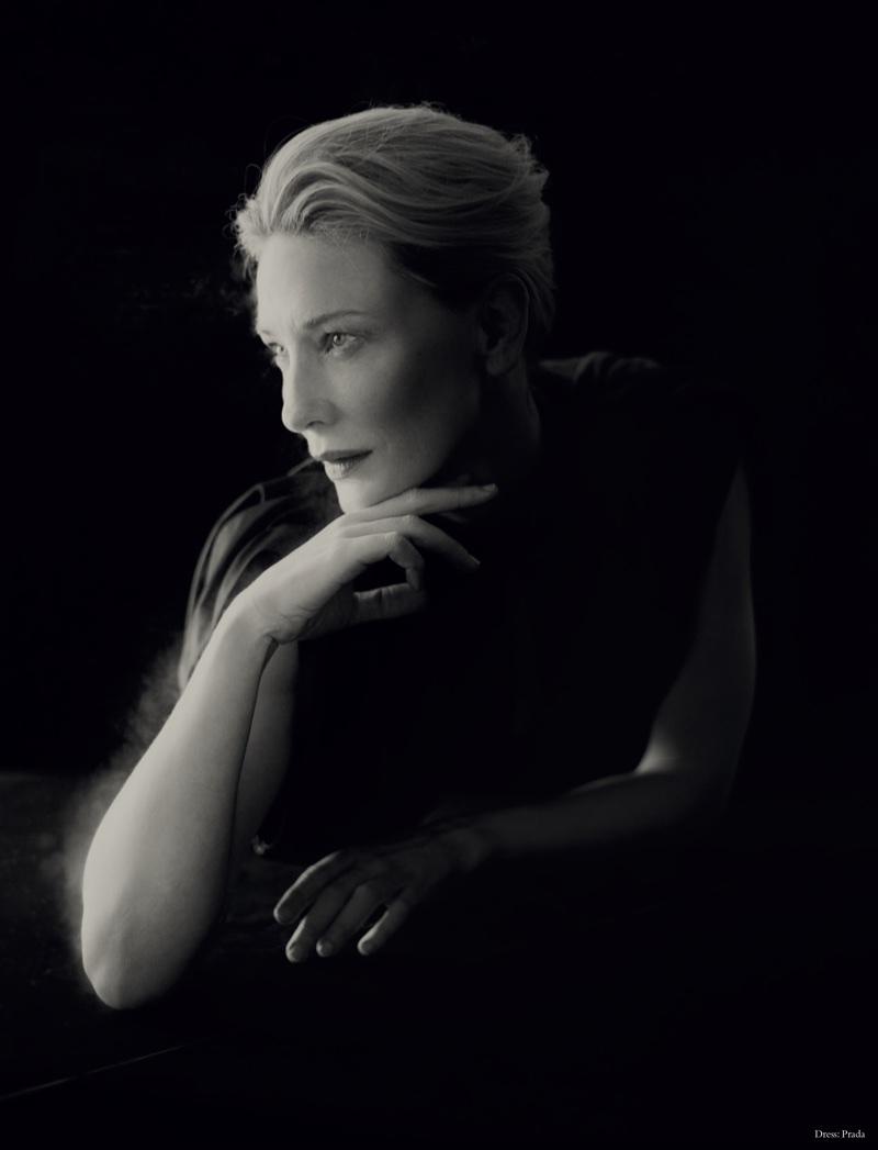 Actress Cate Blanchett poses in Prada dress