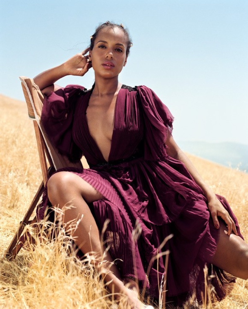 Flaunting some leg, Kerry Washington wears Prabal Gurung silk chiffon top and skirt