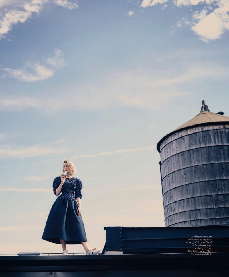 Carey Mulligan poses in Chanel Haute Couture gown and Nike Air Max sneakers