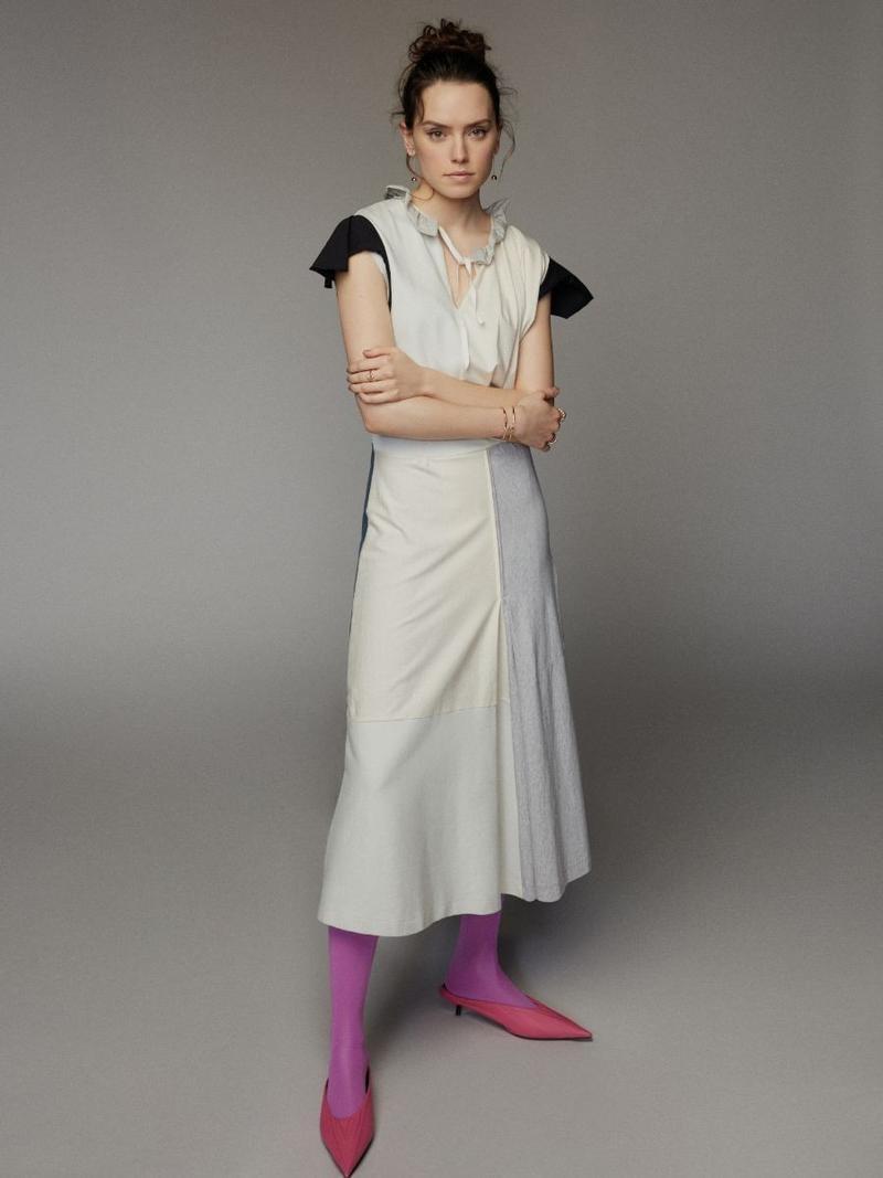 Daisy Ridley wears Balenciaga dress and shoes
