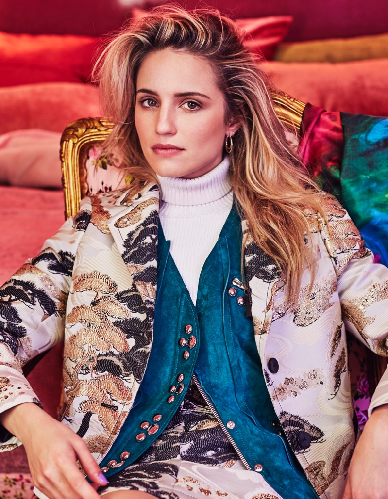 Actress Dianna Agron poses in complete look from Louis Vuitton
