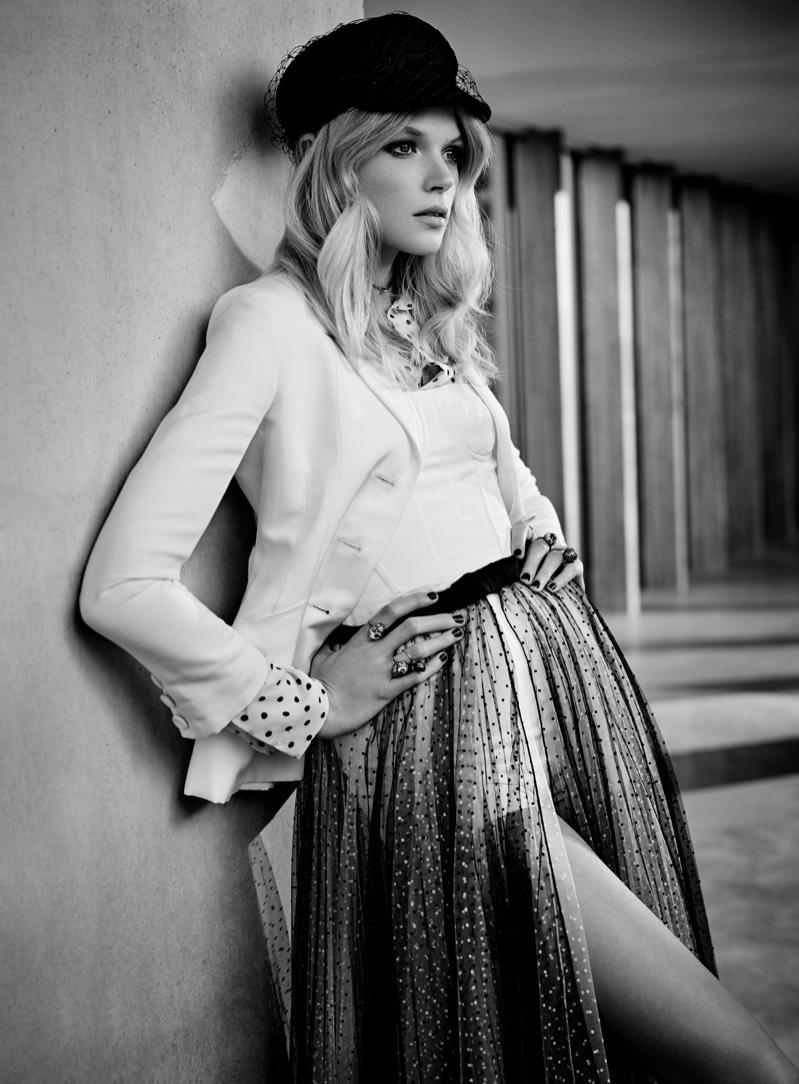 Actress Gabriella Wilde poses in Dior look