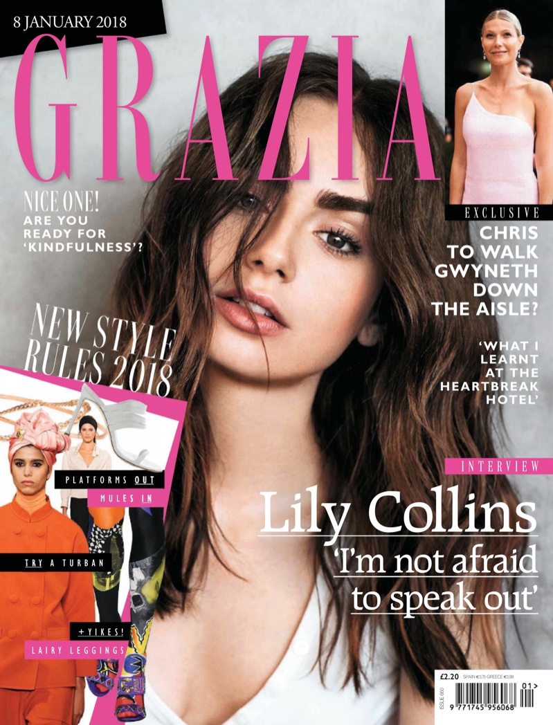 Lily Collins on Grazia UK January 8th, 2018 Cover