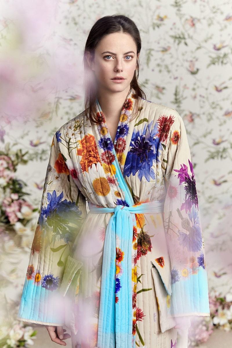 Actress Kaya Scodelario poses in printed robe