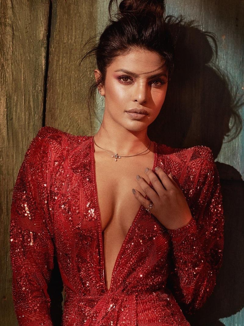 Looking red-hot, Priyanka Chopra poses in sequin embellished dress